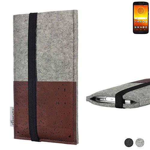 flat.design Handy Hülle Sintra für Motorola Moto E5 Dual SIM Handytasche Filz Tasche Schutz Kartenfach Case braun Kork