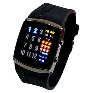 Super Cool LED Montre numérique - Futuriste multicolore de style japonais avec 29 Super Bright LED Lights et bracelet noir - unisexe montre-bracelet dames ou messieurs