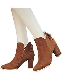 ZHRUI Calzado de Mujer, Calzado de Mujer Otoño Invierno Damas Puntiagudas Botas de Arco Botines