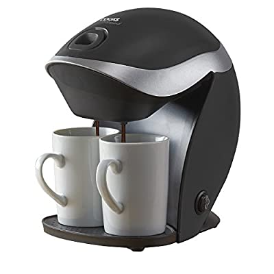 Cooks Professional Electric Coffee Machine Reusable Filter 2 Cup 350W with Mugs Included