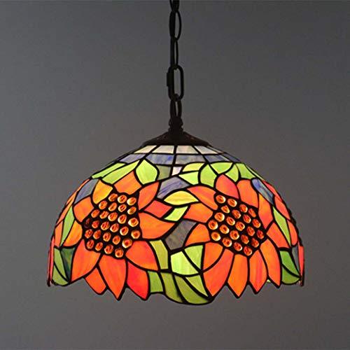 Tiffany-Stil Kronleuchter, Sonne Blumendekoration Glas Anhänger Deckenleuchte 40Cm, Hängelampe Für Schlafzimmer Esszimmer, E27 X 3