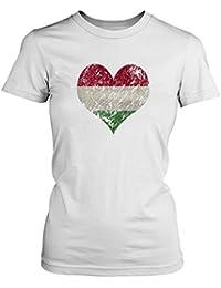 Fashionalarm Damen T-Shirt - I Love Hungary | Fun Shirt Trikot mit Vintage Flagge Print für Fußball & Ungarn Fans | Balaton Urlaub | EM & WM