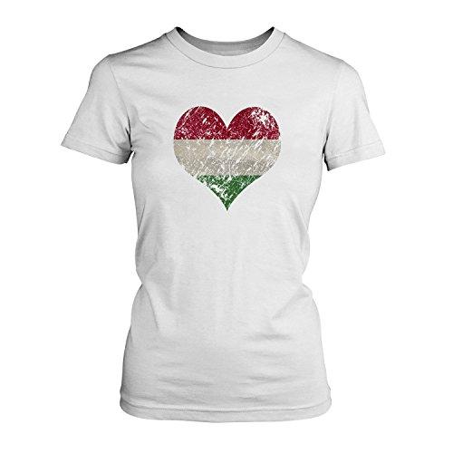 EM 2016 I Love Hungary - Damen T-Shirt von Fashionalarm | Shirt für Fußball Fans | Print im Vintage Destroyed Used Look | Europameisterschaft Europameister Trikot Herz Ungarn Weiß