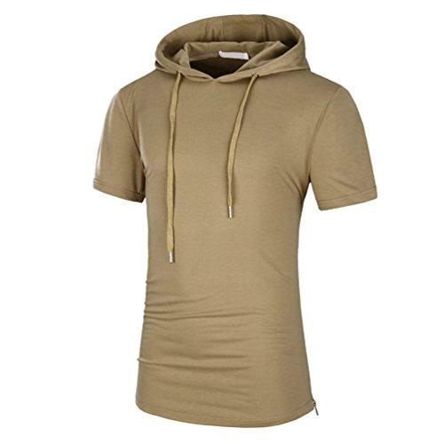 Zhiyuanan uomo estate manica corta t-shirt casual maglietta con cappuccio tinta unita sottile misura shirt con zip lateral khaki 2xl