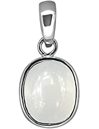 Accurate Traders Natural Moonstone Rashi Ratna Silver Pendant 9 Ratti (8.2 carats) Stone Origional and Certified by GEMOLOGICAL LABORATORY OF INDIA (GLI) Chandrakanta Precious Gemstone Chandi Locket Unheated and Untreated Top Quality Gems for Astrological Purpose