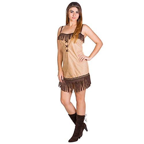 Sexy Damen Indianer Indianerin Squaw Kostüm mit Haarband (XL | Nr. 300027)