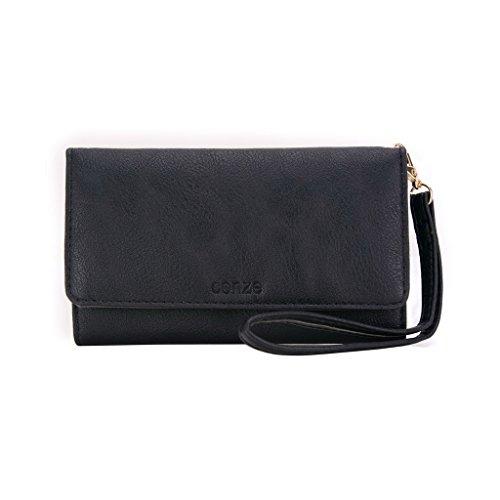conze Fashion Téléphone portable petit sac de transport avec sangle croix corps compatible avec MOTOROLA Luge Black + Flower noir