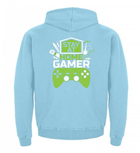 Shirtee Hochwertiger Kinder Hoodie - Stay At Home Gamer - Gaming Videospiele Zocker Zocken Online Multiplayer Videogames Himmelblau