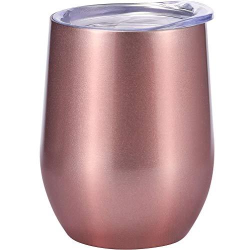 Demarkt Weingläser aus Edelstahl Weinbecher mit Deckel Outdoor Wein Glas (Roségold)