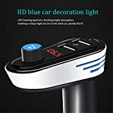 LHSZH Transmetteur FM Bluetooth, Voiture Radio Audio Adaptateur Lecteur MP3 kit Voiture Mains Libres avec Deux Ports USB 5V/3.1 A, LED Affichage de la Tension de Voiture,silverblack