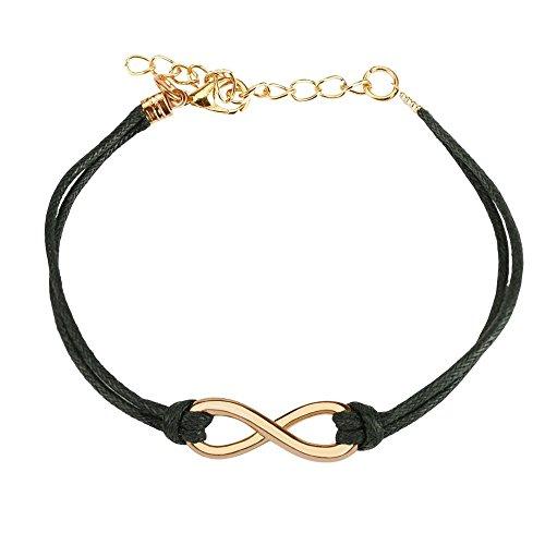 *Bungsa schwarzes Armband Unendlichkeit Infinity aus Leder – BFF Freundschaftsarmband für Damen & Herren*