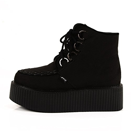 5f728beb3f05 RoseG Women's High Top Suede Lace Up Flat Platform Creepers Shoes Boots  Black Size6