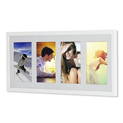 Holz - G41 Rahmen für Bilder 10x15 13x18 15x20 mit weißem Passepartout Rahmen zum Aufhängen Farbe Weiß - Format 13x18 - 13 Foto-bild Von 10