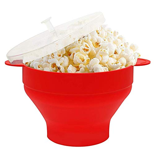 Nuoyi Silikon Mikrowelle Popcornschale mit Deckel Haushalts Heißluft Mikrowelle Popcornmaschine mit Griff Faltbare Popcornschüssel Einfach zu bedienen