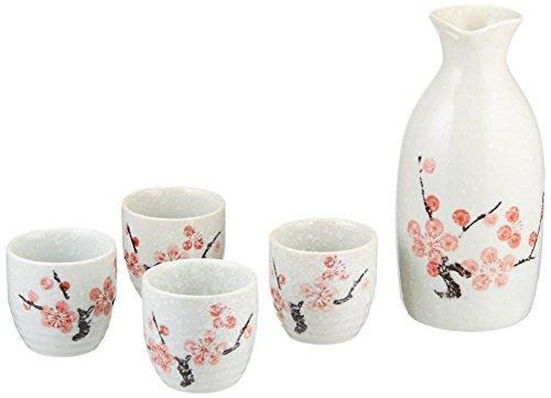 Happy Sales 5 Piece Cherry Blossom Sake Set, Snow Blossom by Happy Sales Cherry Blossom Sake Set