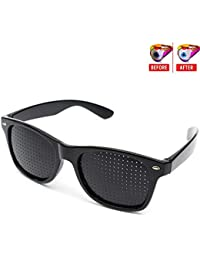 Rockoshop Lazy Spectacles Pinhole Vision Correction Glasses Eyesight Improvement For Men/Women/Kids With Hard Case (Black)