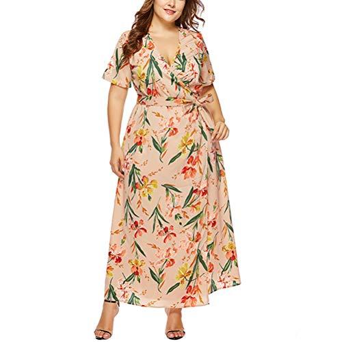 XIGUAK Frauen tiefem V Ausschnitt Chiffon Kleid Sommer Blumendruck Boho Maxi Kleid Belted Casual Work Party Kleid -