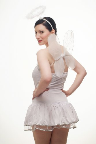 Imagen de dress me up  set disfraz feminino vestido, angelito, aparencia inocente, bailarina, vestido blanco con diadema y aureola, l018 alternativa