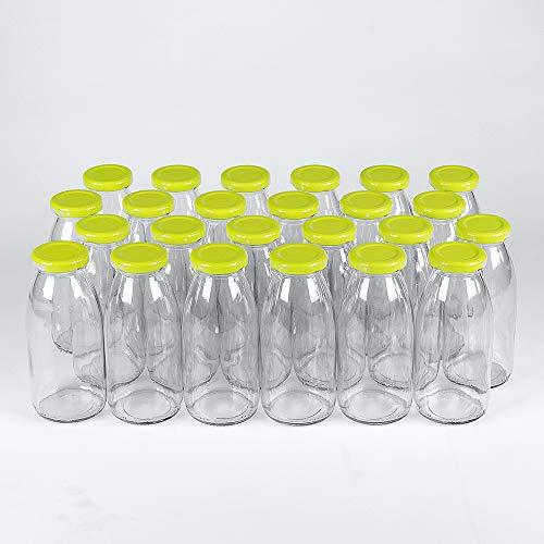 24 leere Glasflaschen mit Schraubverschluss 250 ml weiß TO43 zum selbst befüllen von Getränken. Milchflaschen, Saftflaschen, Sirupflaschen, Sahneflaschen 0,25 Liter mit hellgrünem Verschluss TO 43