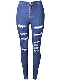 Yonglan Hombre Ocio suelto Jeans Lavado denim Elásticos Pantalones Agujero Tamaño grande Jeans Azul 44