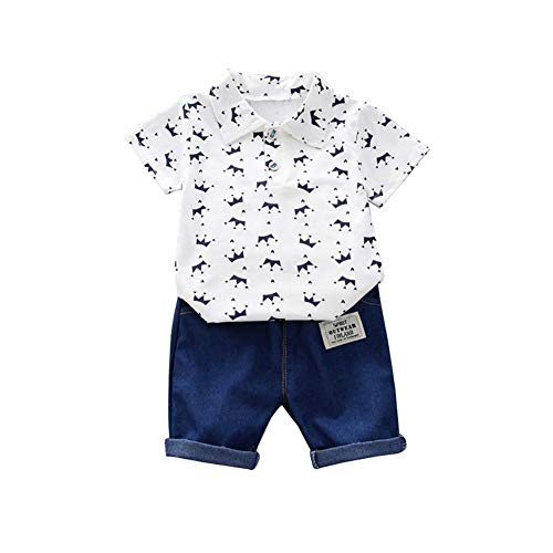 Gyratedream Sommer Baby Boy Adorable Blumendruck Kurzarm Shirt Bluse Shorts Casual Outfits Kleidung für 3 Monate bis 4 Jahre Adorable Set Hose