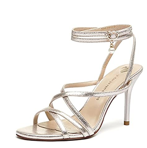 SZXC Womens Ladies Mid Low High Heel Prom Strappy Crossover Sandals Chaussures Taille Party Wedding , 35 ,