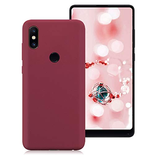 Xiaomi Mi Mix 2S Funda, Color Suave TPU Caso Ultra Delgado Protectora Back Case Cover Anti Rasguños Anti Choque Tapa para Xiaomi Mi Mix 2S - Vino Rojo