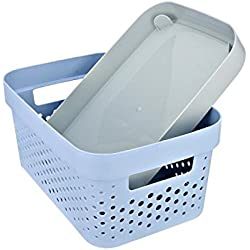 The Virgo Premium Quality plastic Tapered woven Storage box/organiser/bin/Basket with Lid / cover for kitchen, bathroom, cosmetic accessory or office storage -Random Color Size (in cm) : 26 * 17* 13 (LENGTH * BREADTH * HEIGHT)