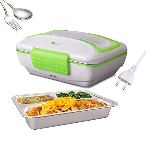 Gamelle Électrique pour bureau et masion utilisant 3 compartiments Portable amovible boîte à déjeuner électrique Récipient en acier inoxydable Récipient de chauffage de repas (220V, Vert)
