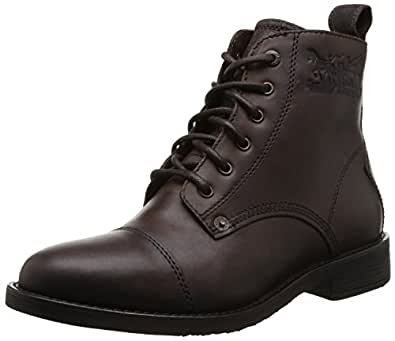 Levi's Raker Brown Leather Mens Lace Up Mid Ankle Leather Army Shoes Boots-42