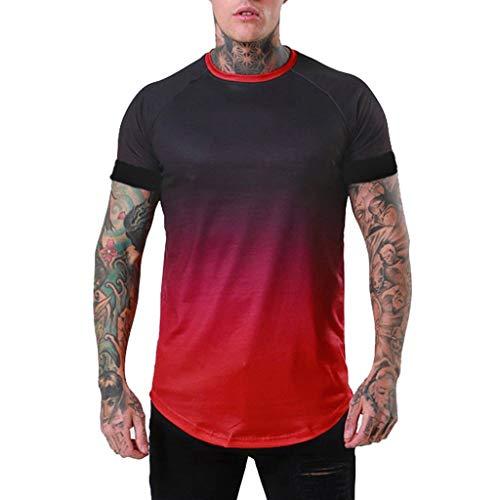 3f9a662a3d572 riou Camisetas Hombre Manga Corta Moda Personalidad Estampada Cuello  Redondo Top Blusa Casual Oficina Color sólido Gradiente Camisa Deportiva  chándal ...