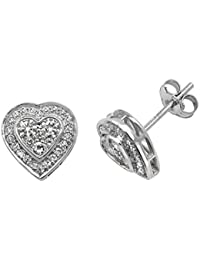 9ct White Gold 0.50ct Diamond Heart Stud Earrings