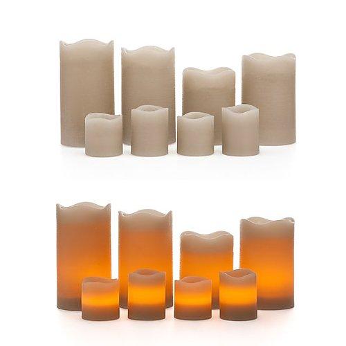 8 LED Echtwachskerzen mit Timer Funktion - 4 Stumpenkerzen & 4 Votikerzen - mehrere Farben wählbar (Taupe) (Timer Mehrere)