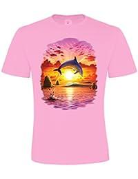 Ethno Designs Sealife - Tiermotiv Fische - Delfin T-Shirt für Mädchen - Dolphin Sunset - regular fit