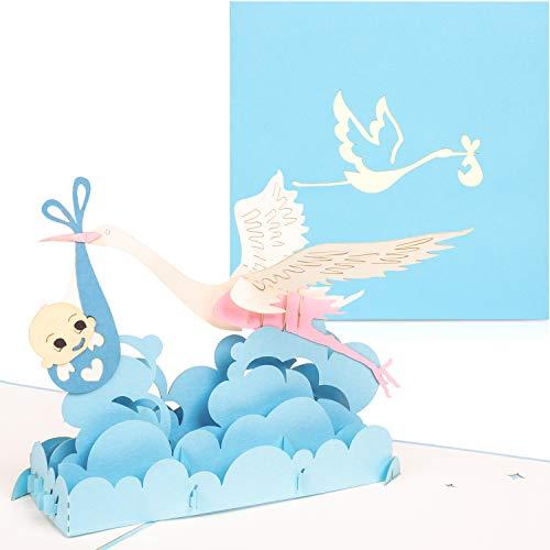 PaperCrush® Pop-Up Karte Baby Geburt Junge - 3D Geburtskarte, Glückwunschkarte zur Geburt eines Jungen - Handgemachte Gratulationskarte, Popup Karte mit Klapperstorch