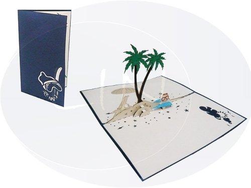 Tarjetas de felicitación Lin Pop Up, 3d Tarjetas de viaje vacaciones de cupones palmera Isla de felicitación, Esnórquel