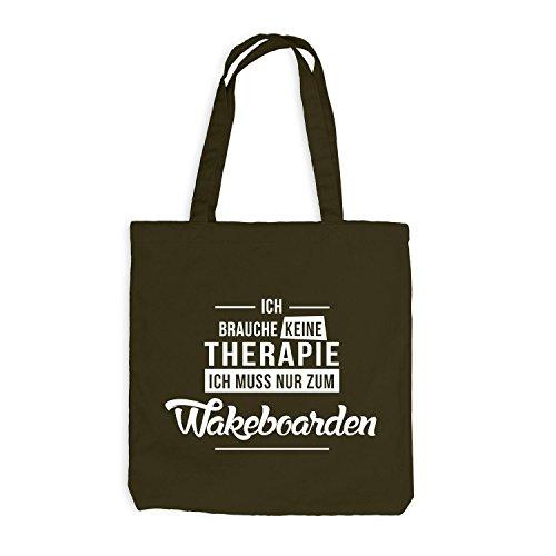 Jutebeutel - Ich Brauche Keine Therapie Wakeboarden Olive