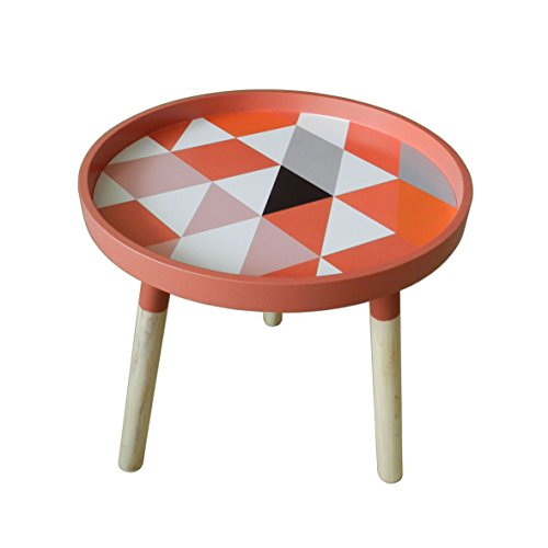 CVHOMEDECO. Moderne KD Table basse ronde en bois amovible rond Accent Table Table à thé portable avec 3 amovible Legs. Diá.39,4 x H41 cm