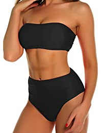 FITTOO Damen Push Up Hohe Taille Bauchweg Gepolsterter Bandeau Bikini-Set
