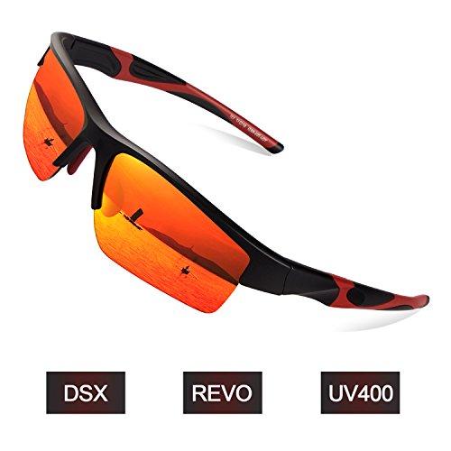 Elegear Sportbrille Herren Fahrradbrille Damen Radbrille Frauen Modische Autofahren Sonnenbrille verspiegelt, 100% UV Schutz Brille für Outdooraktivitäten wie Radfahren Laufen Klettern Angeln Golf usw. Outdoor Sport - Lava Rot