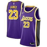 Lalagofe Lebron James, Los Angeles Lakers #23 Basket Jersey Maglia Canotta, Viola, Un Nuovo Tessuto Ricamato, Stile di Abbigliamento Sportivo (L)