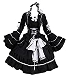 M 3109NERO BLACK Stretch Gothic Lolita Dress Abito Cosplay Costume Costume Kawaii-Story