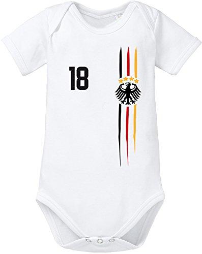 EZYshirt WM 2018 Deutschland | WM Sternchen | M 03 | Wunschname und Nummer Baby Body Kurzarm Bio Baumwolle