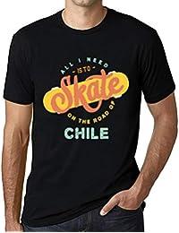 Hombre Camiseta Vintage T-Shirt Gráfico On The Road of Chile Negro Profundo
