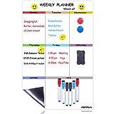 Magnetisches Whiteboard Kühlschrank Wochenplaner Magnettafel Whiteboard Planer mit 6 Stifte +1 Radierer+2 Magneten+4 Emoji Aufkleber, 43 x 28 cm