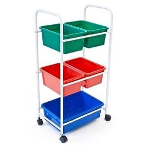 Relaxdays étagère à roulettes meuble de rangement mobile sur 4 roulettes + 5 boîtes de rangement