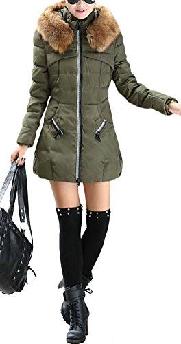 Brinny Damen Winterjacke Parka Steppjacke mit Kapuze Übergansjacke Lang Slim Fit Kunstpelz Kunstfell Fleece 13 Armee Grün