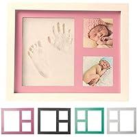 Bebé Huella, Huella y marco de fotos–de recuerdo de Kit–Recuerdos Baby Shower regalo para niños & niñas–Arcilla y de madera marco de fotos–Soporte de pared y mesa soporte incluido