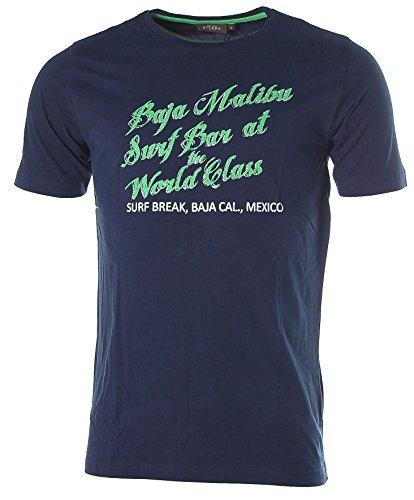 Kitaro Herren Kurzarm Shirt T-Shirt Rundhals Baja Malibu Surf Navy