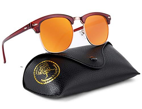 Rocf Rossini sonnenbrille polarisiert herren damen Retro Vintage klassisch Halber Rahmen Männer Frauen Anti Reflexion UV400 (Braun/Orange)